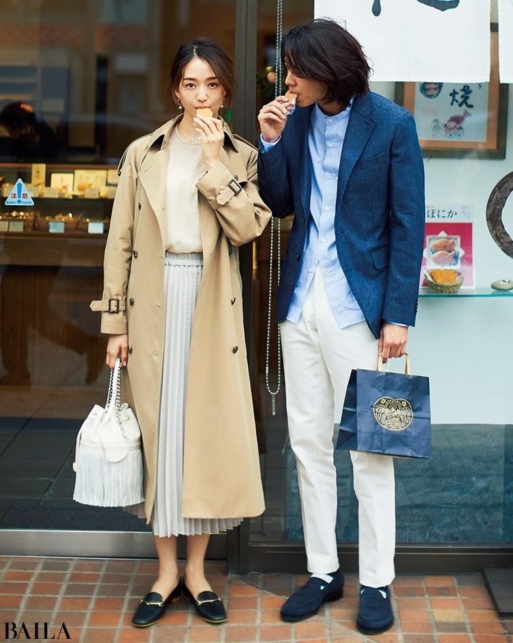 全方位好印象な優しげカラーのプリーツスカートコーデ