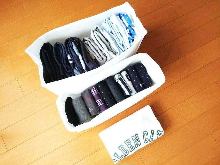 ティーシャツと靴下を入れた高さが変えられる不織布仕切ケース