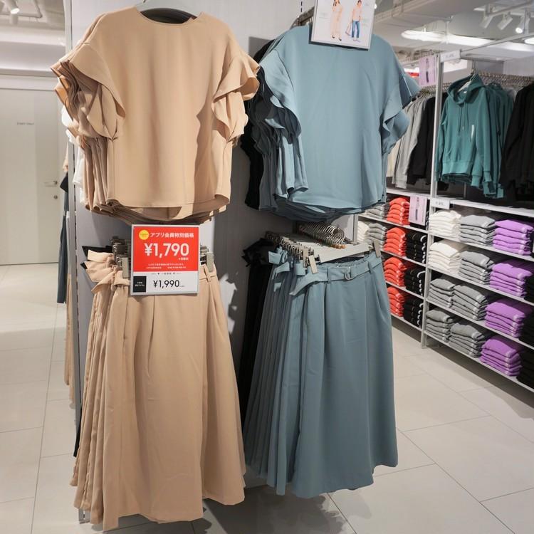 【GU(ジーユー)】渋谷店で30代女子に人気の通勤服(フリルトップス&ワイドクロップドパンツのセットアップ)