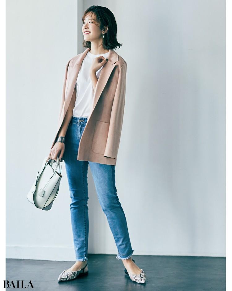 眠っていたピンクのジャケットがこなれたデニム合わせで活躍!