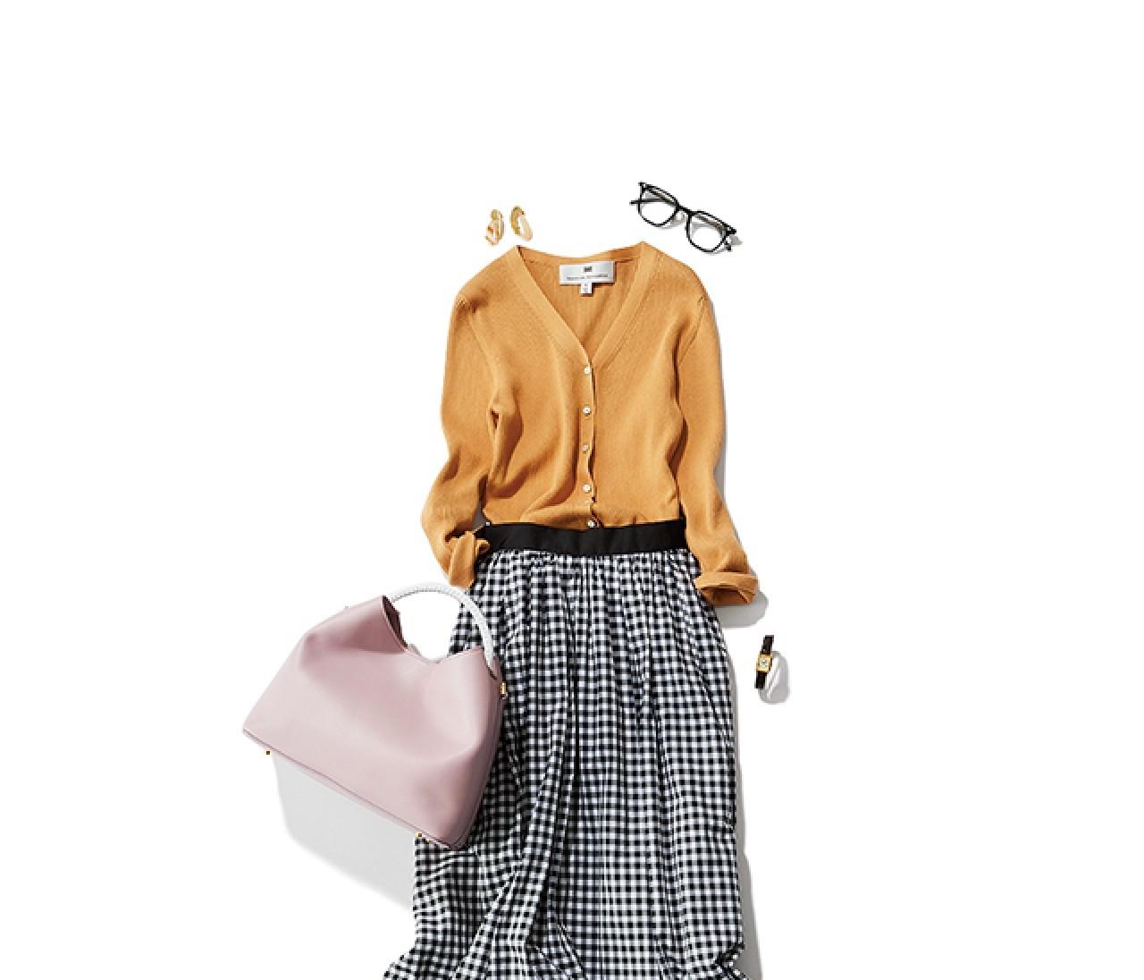 メガネ通勤の日は、女っぽいカーデで甘めのフレアスカートコーデ♡【2019/6/4のコーデ】