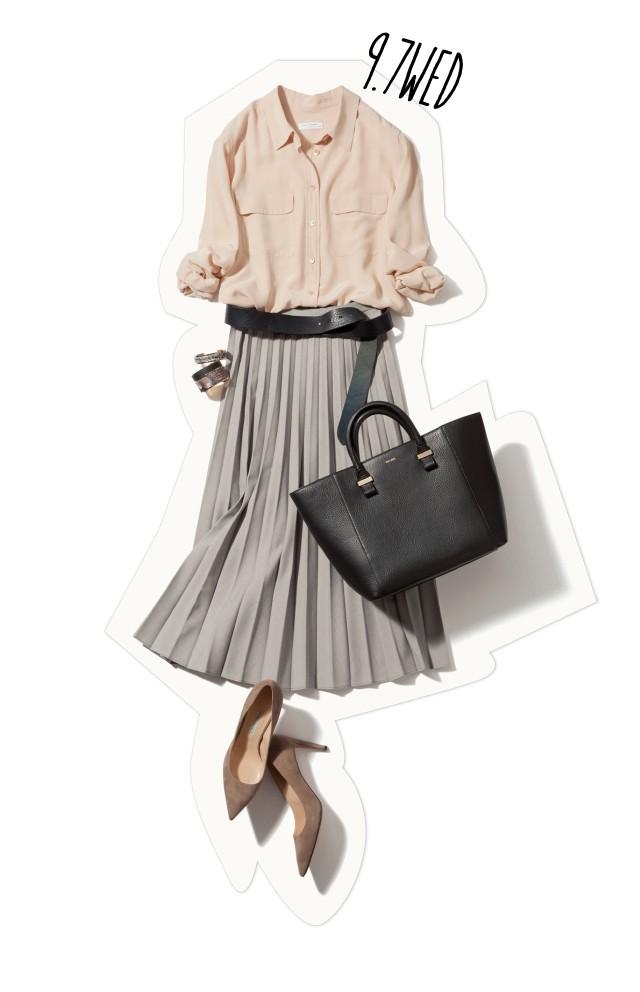 平日の淡色トーンスタイルは、旬のベルト使いでしっかりスタイルアップ♡_1