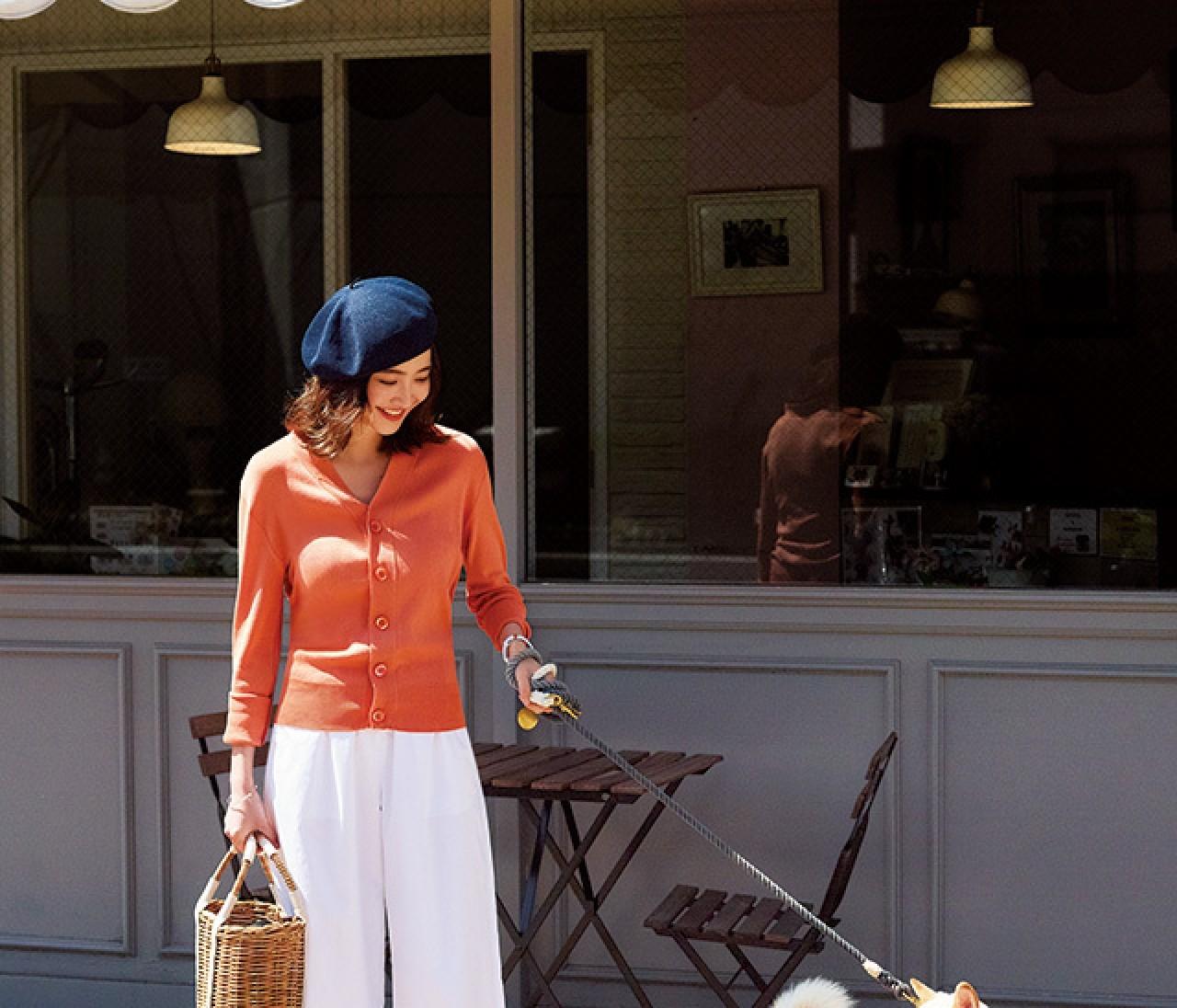 カラフルなのに上品♡ 華やかオレンジトップスは白パンツで上品に♡【2018/5/12のコーデ】