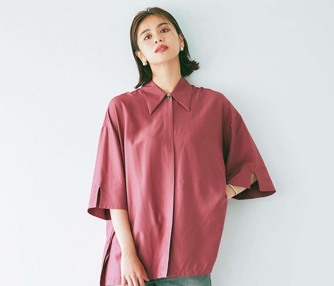 ラクしてきちんと見えするシャツ、秋はこのニュアンスカラーで差をつける!【フェミニントップス3】