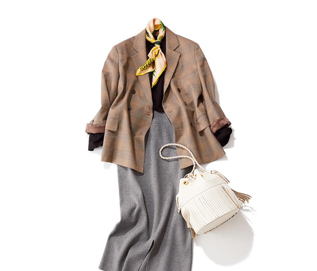 顔映えジャケット&スカーフで、春のスカートコーデは完璧!