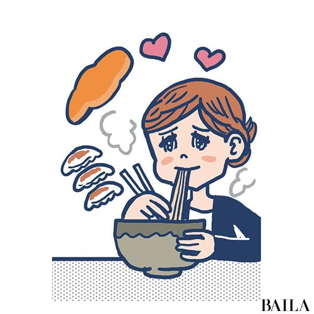 麺類、ギョーザ、パン大好き。