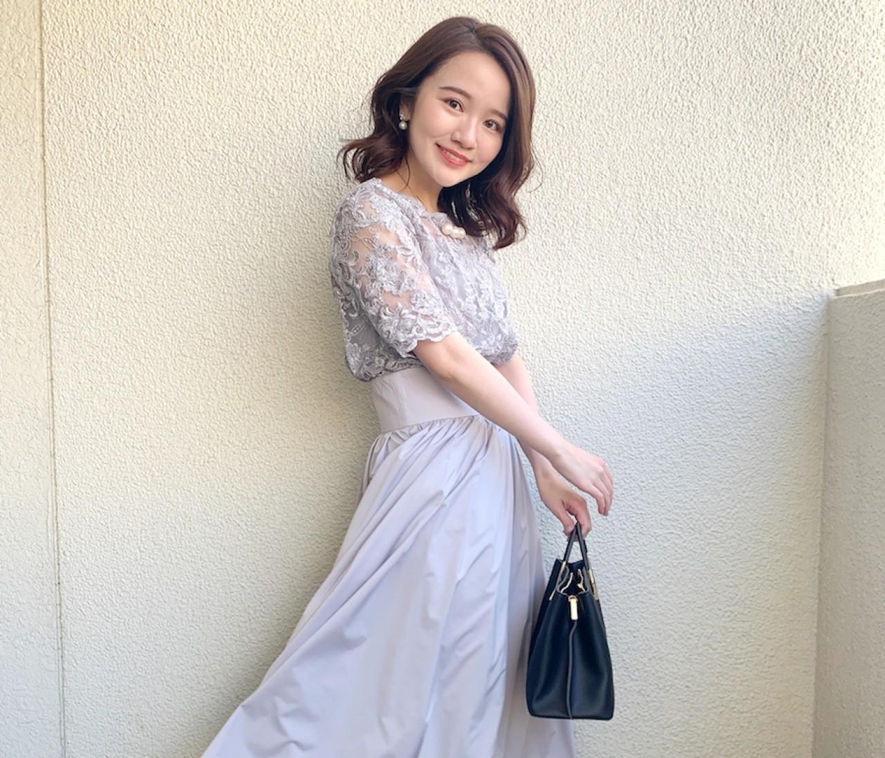 【結婚式お呼ばれドレス】1枚で華やか!LAGUNAMOONのオーバーレースギャザードレス