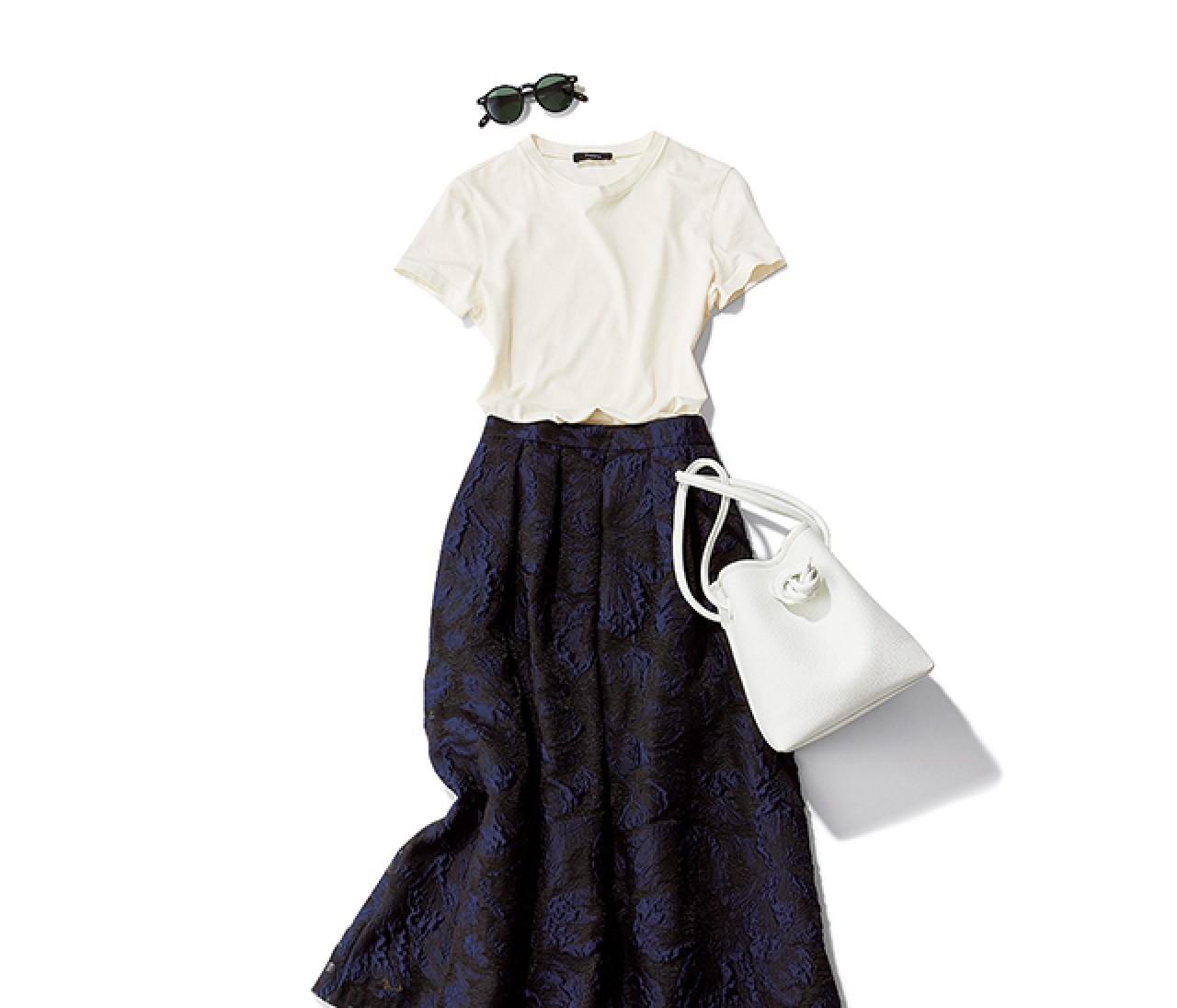 送別会の日は、さわやかで女性らしいツートンスカートスタイルで【2019/6/27のコーデ】