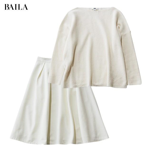 白ニット&白フレアスカート