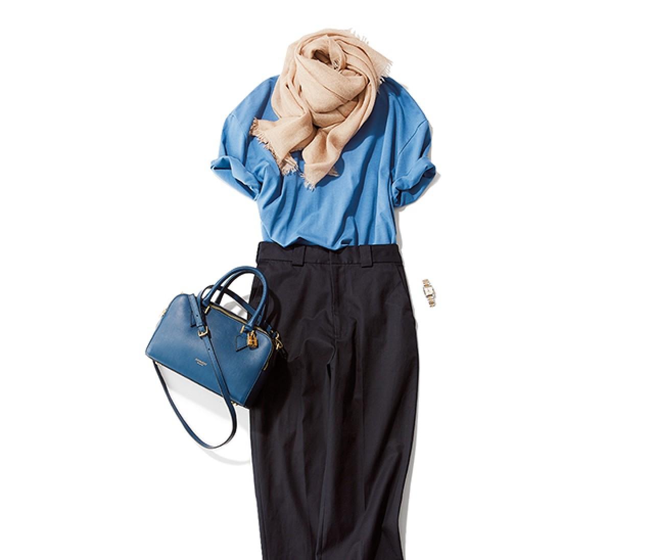 おしゃれな人と会う日は、ブルーとアースカラーを使った洗練パンツスタイル!【2019/6/26のコーデ】