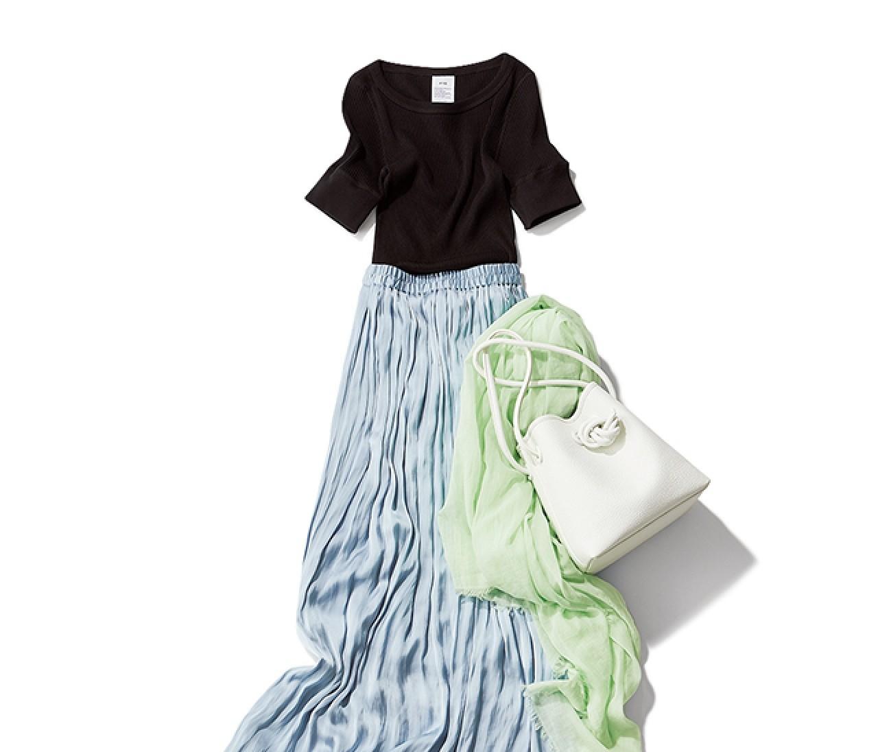 話しかけやすい雰囲気を作りたい日は、親しみやすいTシャツ&ギャザースカートコーデ【2019/7/2のコーデ】