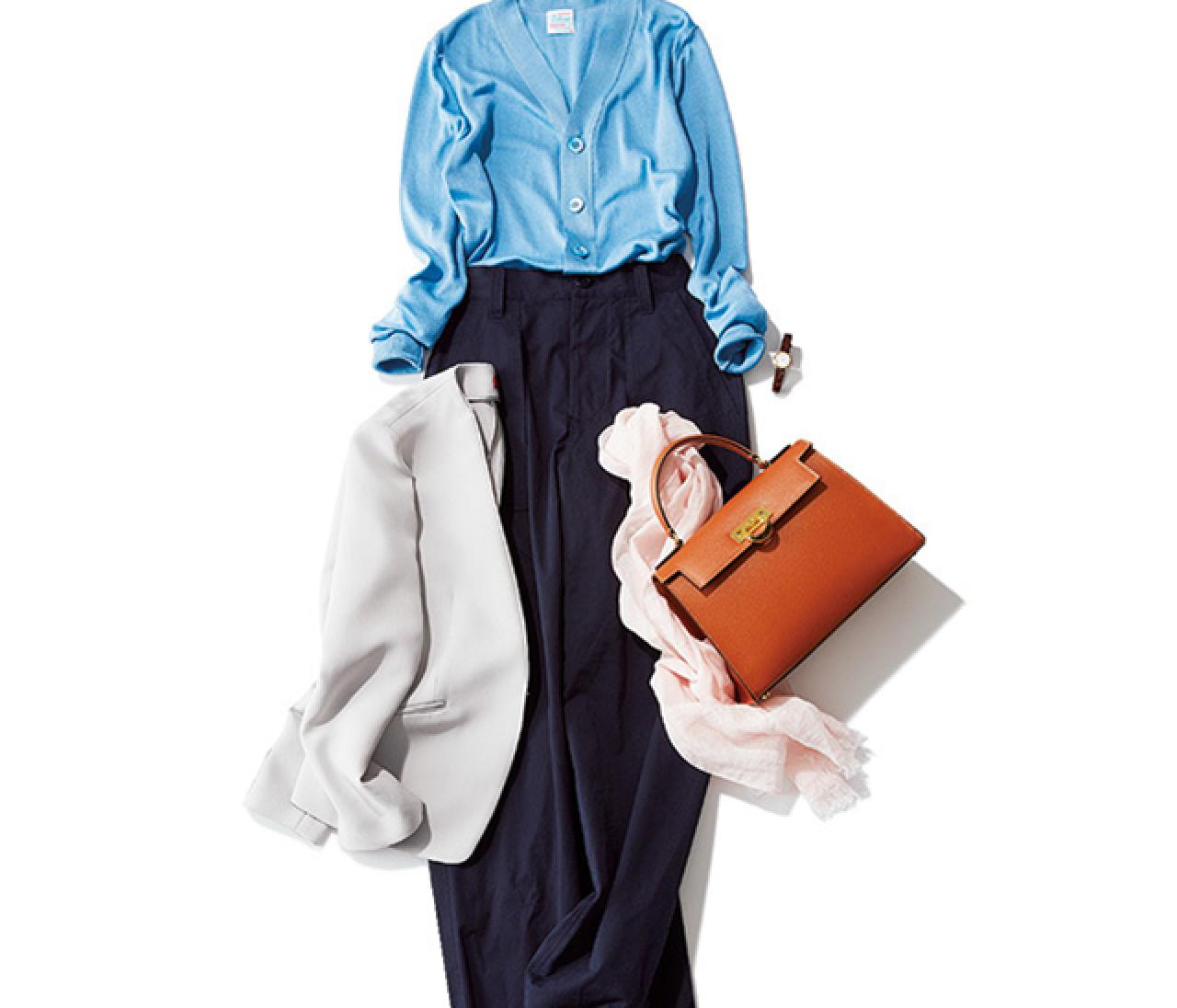 一枚で着られるきれい色カーデで、通勤パンツコーデに春を呼び込む!