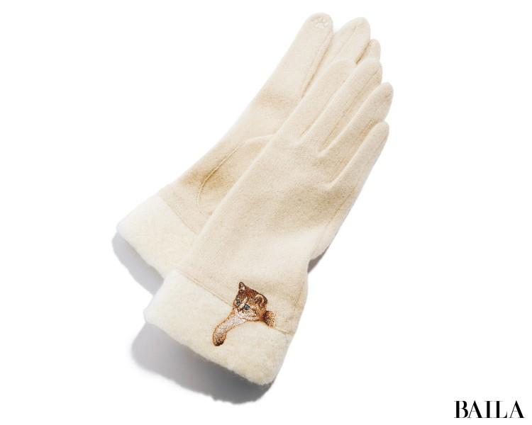 手袋 グローブ ポール&ジョー アクセソワ  オフホワイト 猫