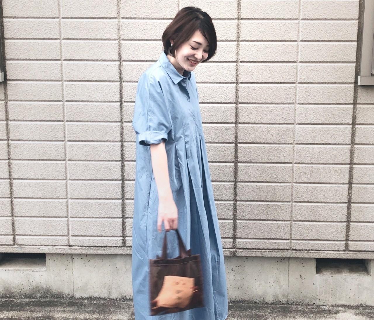 【きれい色ワンピ】夏だからこそ着たい!爽やかブルーのZARAシャツワンピ