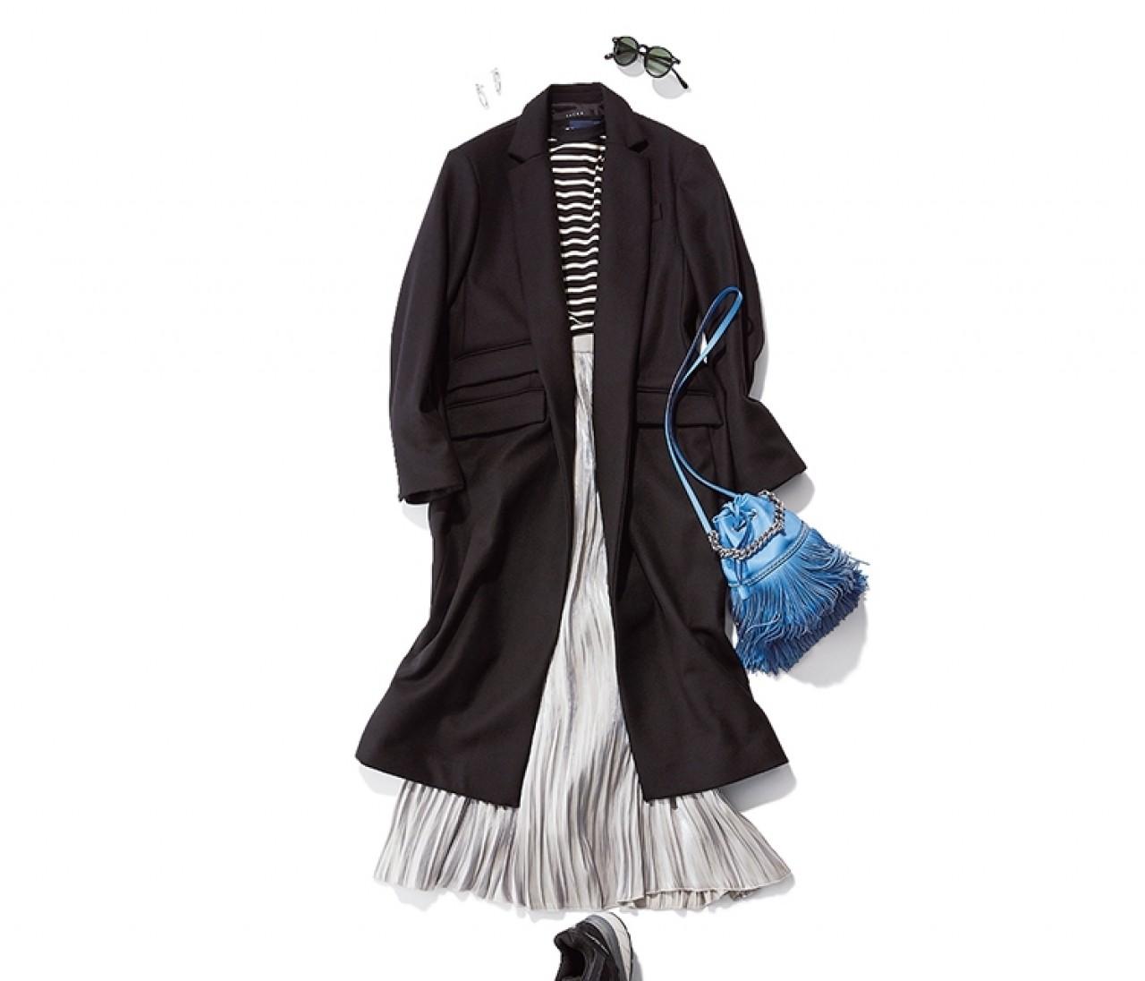 ドライブデートに行く日は、プリーツスカートを使ったカジュアルモノトーンコーデ【2019/12/8のコーデ】