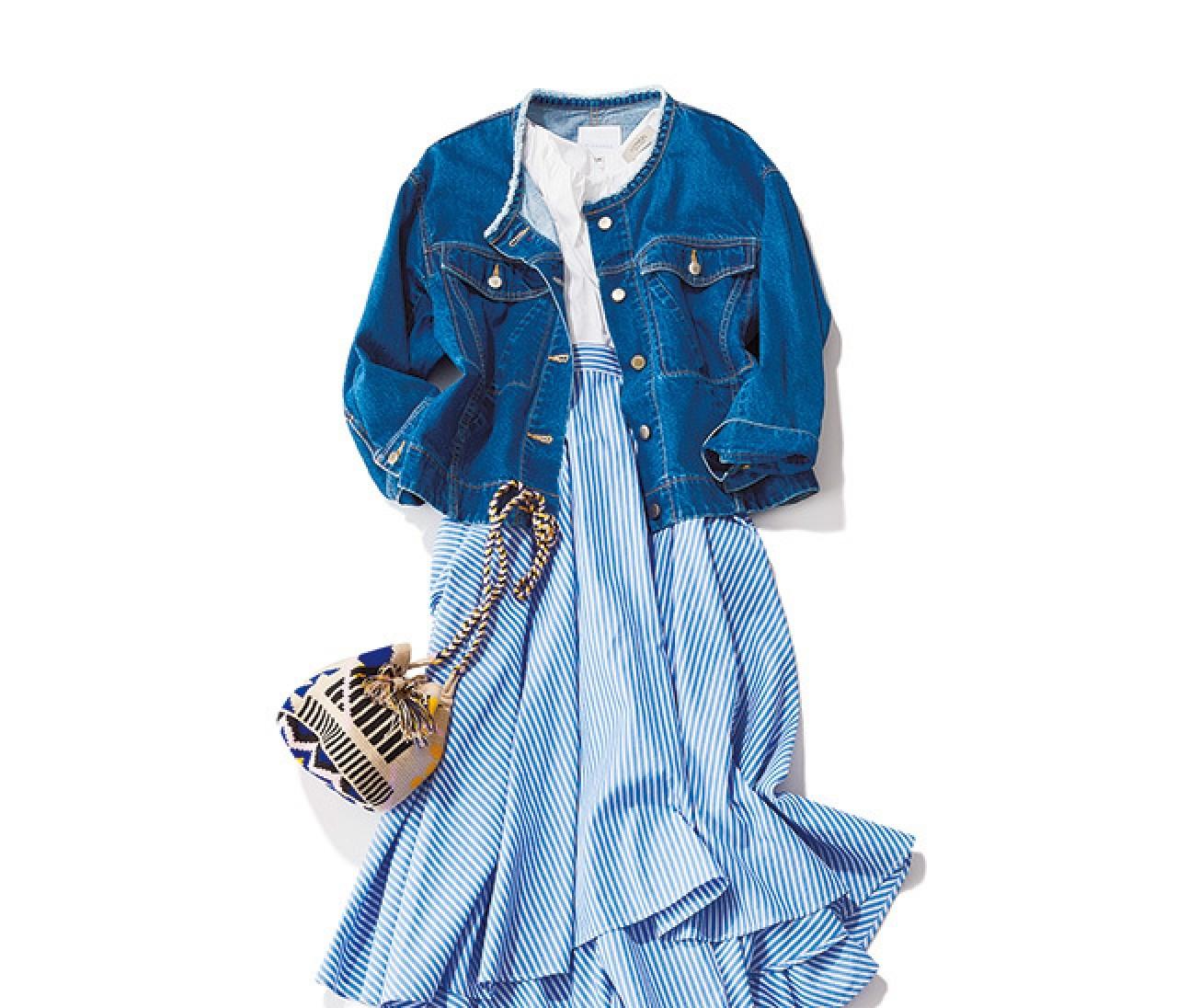 柄や素材で変化をつけて♡ ホワイト×ブルーで作る、旬スカートスタイル♡