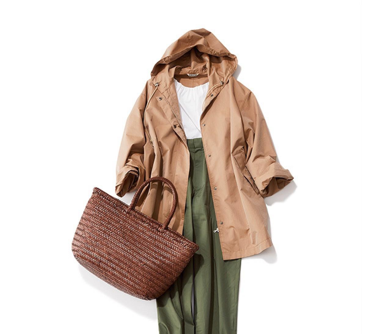 春の辛口パンツスタイルは、袖パフブラウス×フーディで軽やかに♡