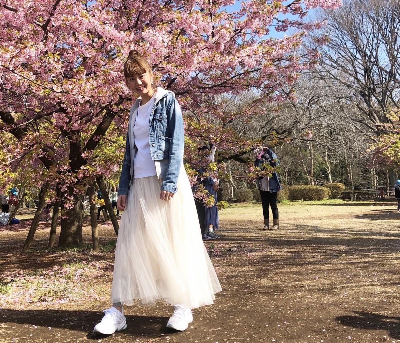 代々木公園桜満開!シフォンスカートで春コーデ
