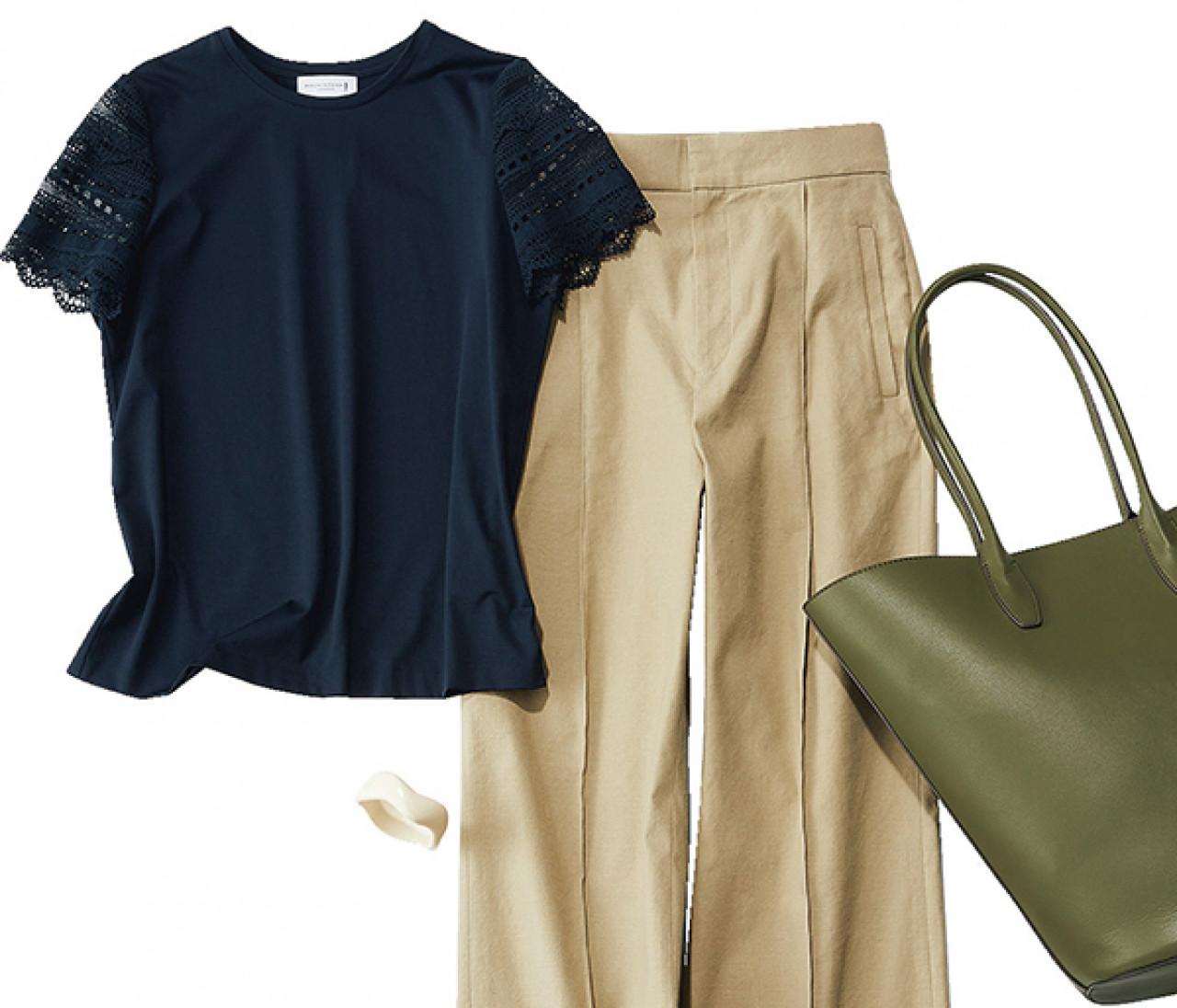 【袖コンTシャツ】フリルたっぷり袖&透けレース袖に合うボトムスは?