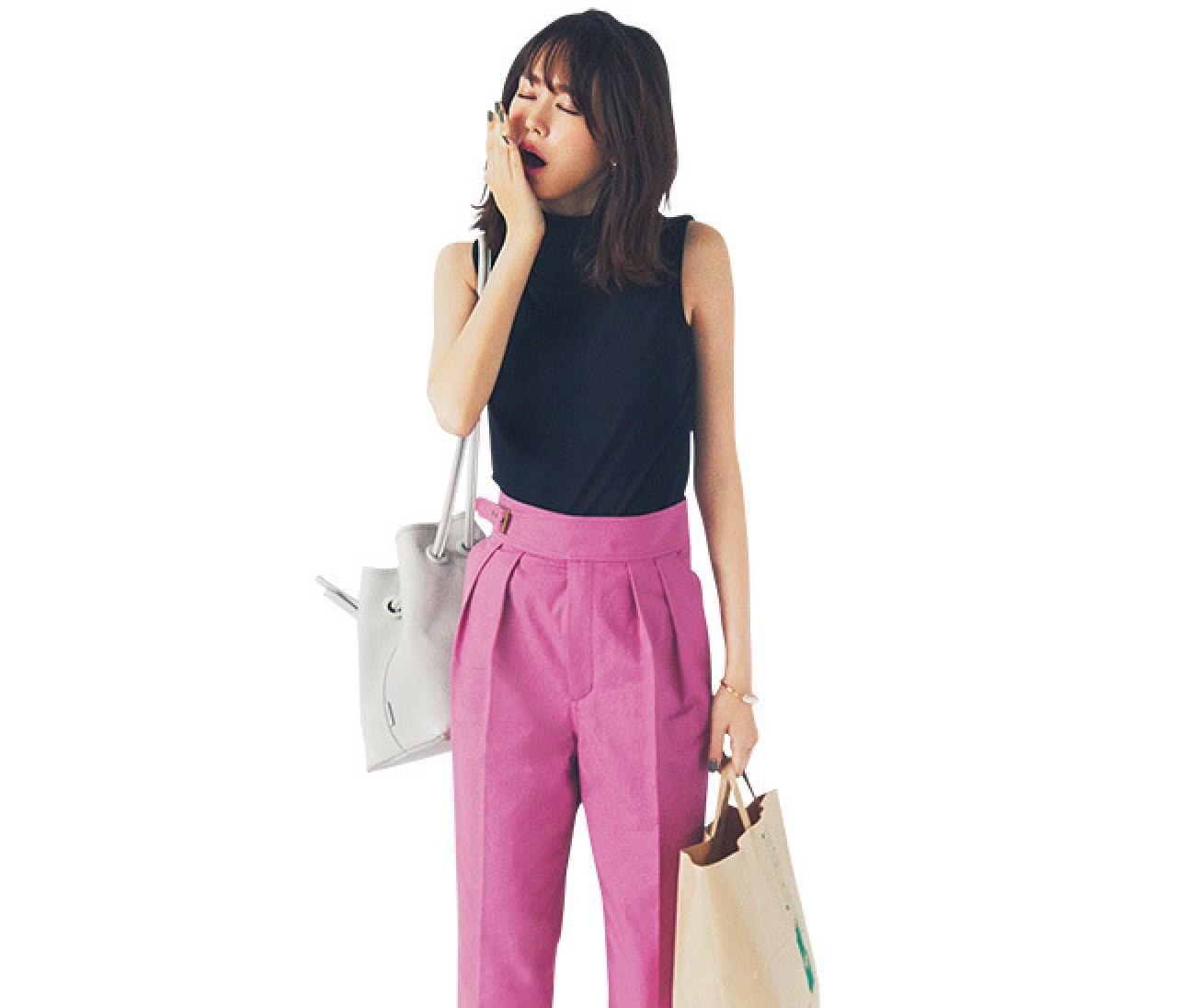 旬色ピンクパンツがあれば、ワンツーコーデも即おしゃれに!【2018/6/29のコーデ】