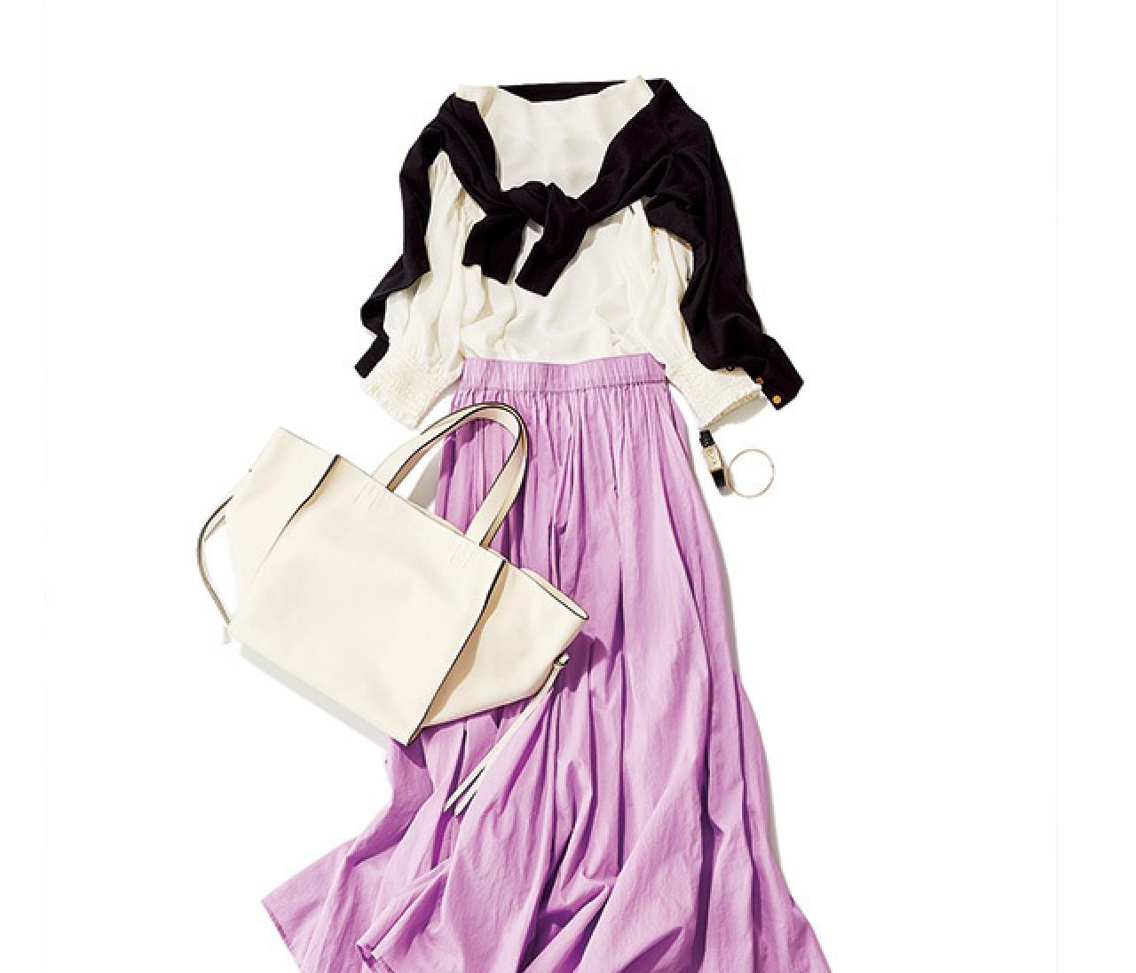 週の真ん中は、華やかなラベンダースカートで気分を上げて♡【2018/5/9のコーデ】
