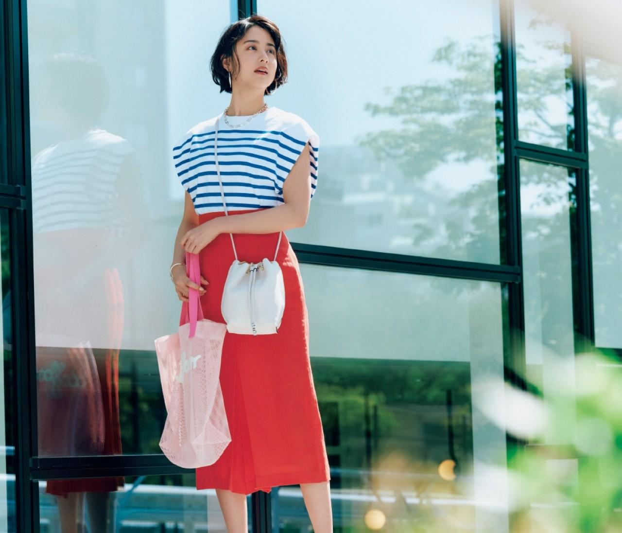 金曜日は、快活なマリンボーダーにカラースカートを合わせて【30代今日のコーデ】