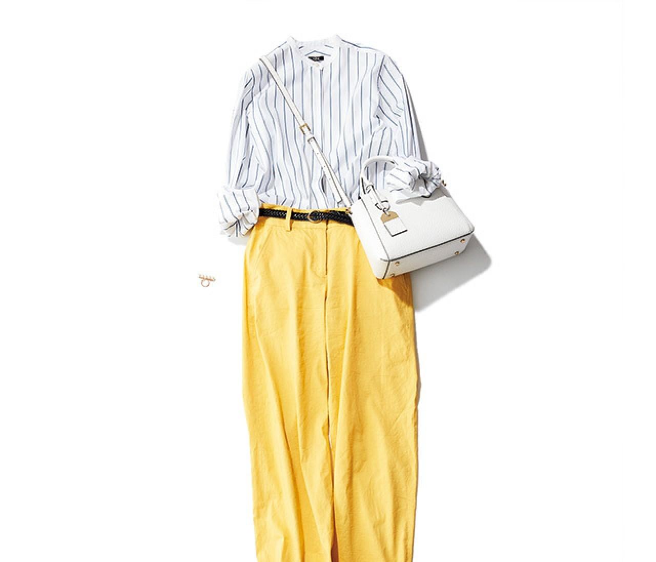 ブルーストライプシャツで爽やかに! 初夏のカラーパンツコーデ♡【2018/5/31のコーデ】
