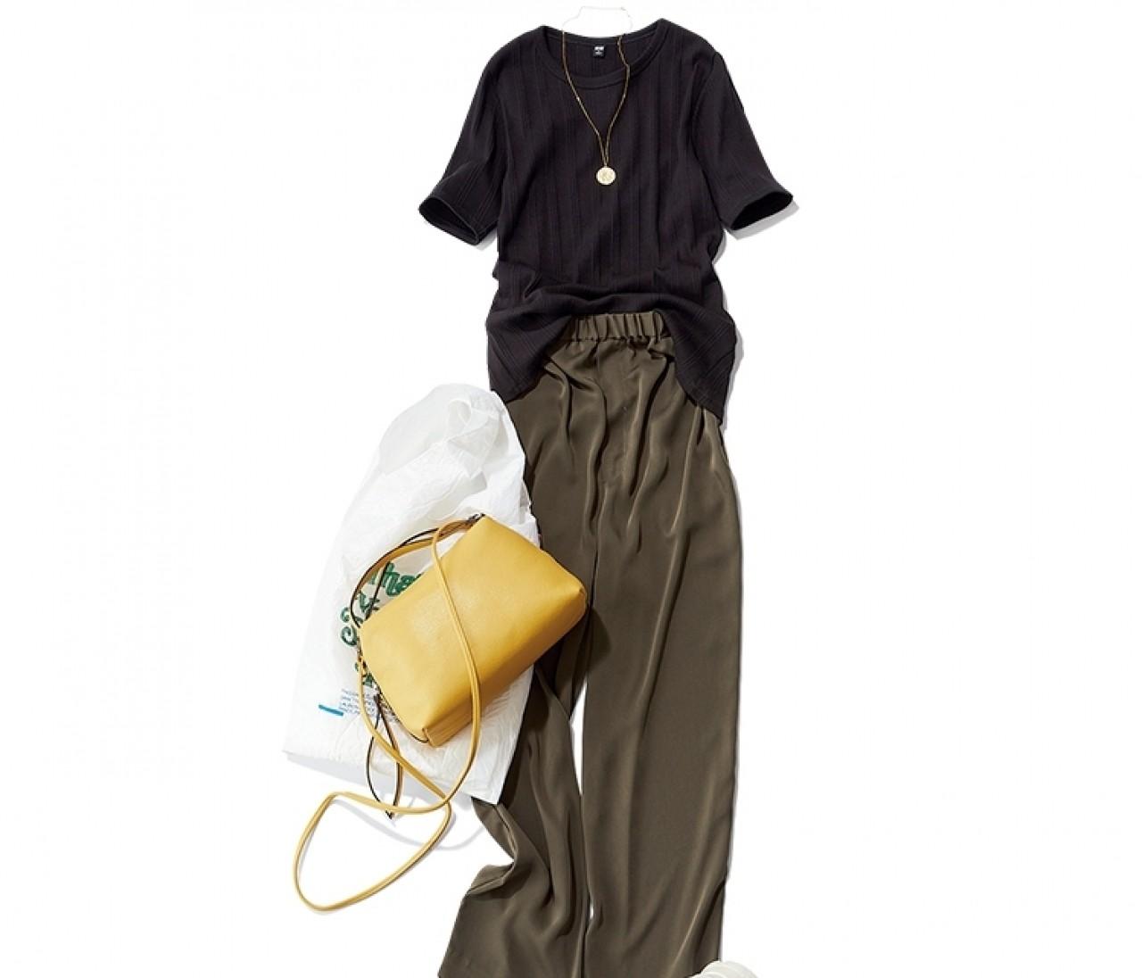 【今日のコーデ】土曜日は、つる太パンツコーデに華やかバッグを加えて