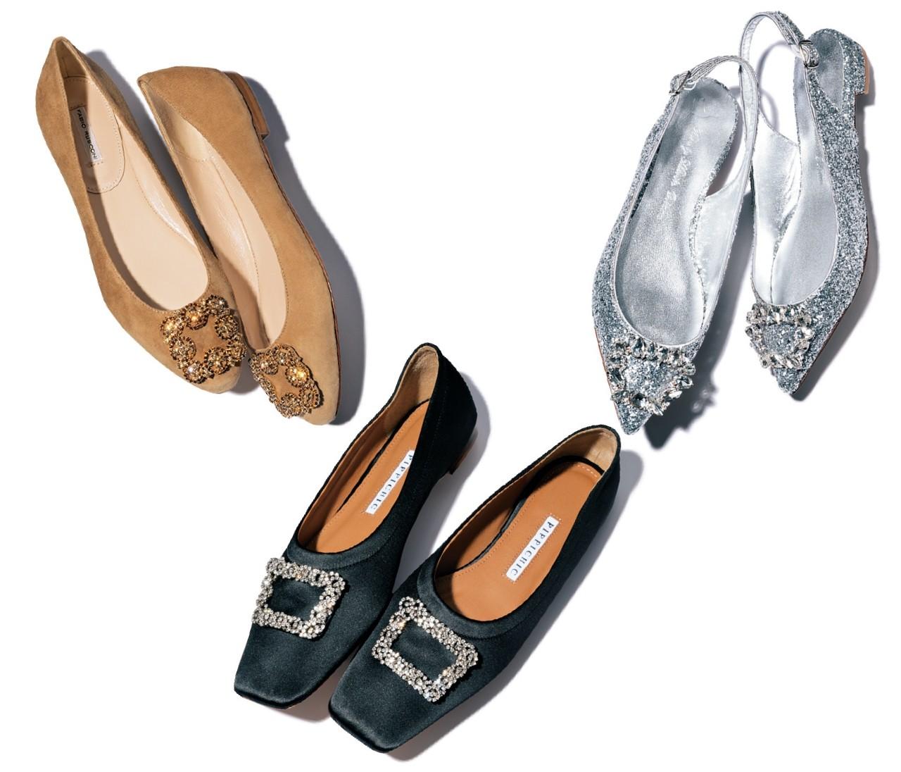 【働く女子の春フラット靴】存在感ある「ビジューつき」で気分を上げて♡