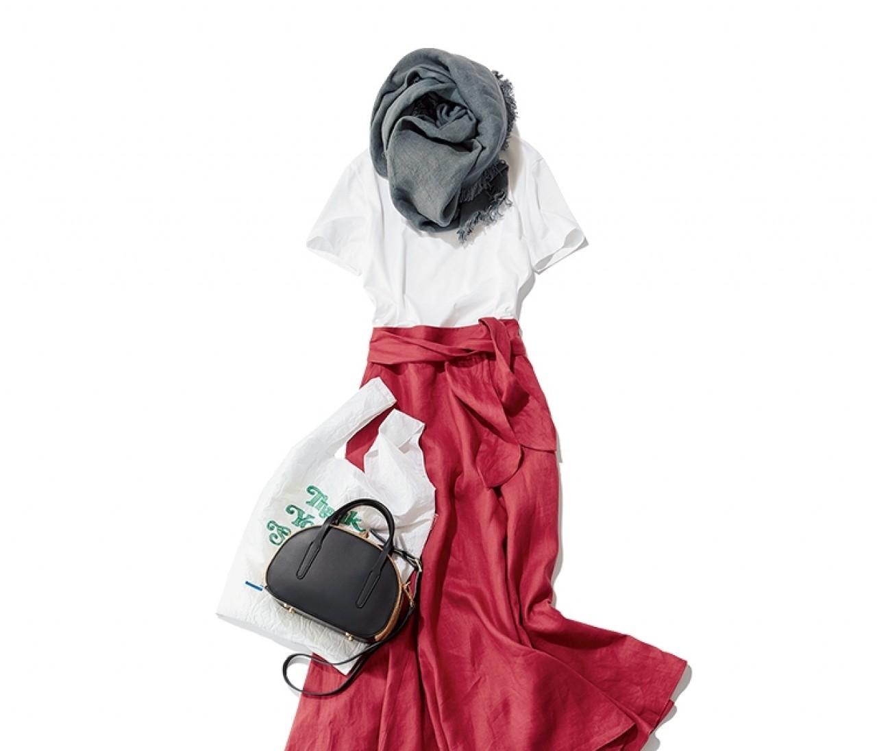 【今日のコーデ】水曜日は、ストールと色スカートを使ったさま見えTシャツコーデ