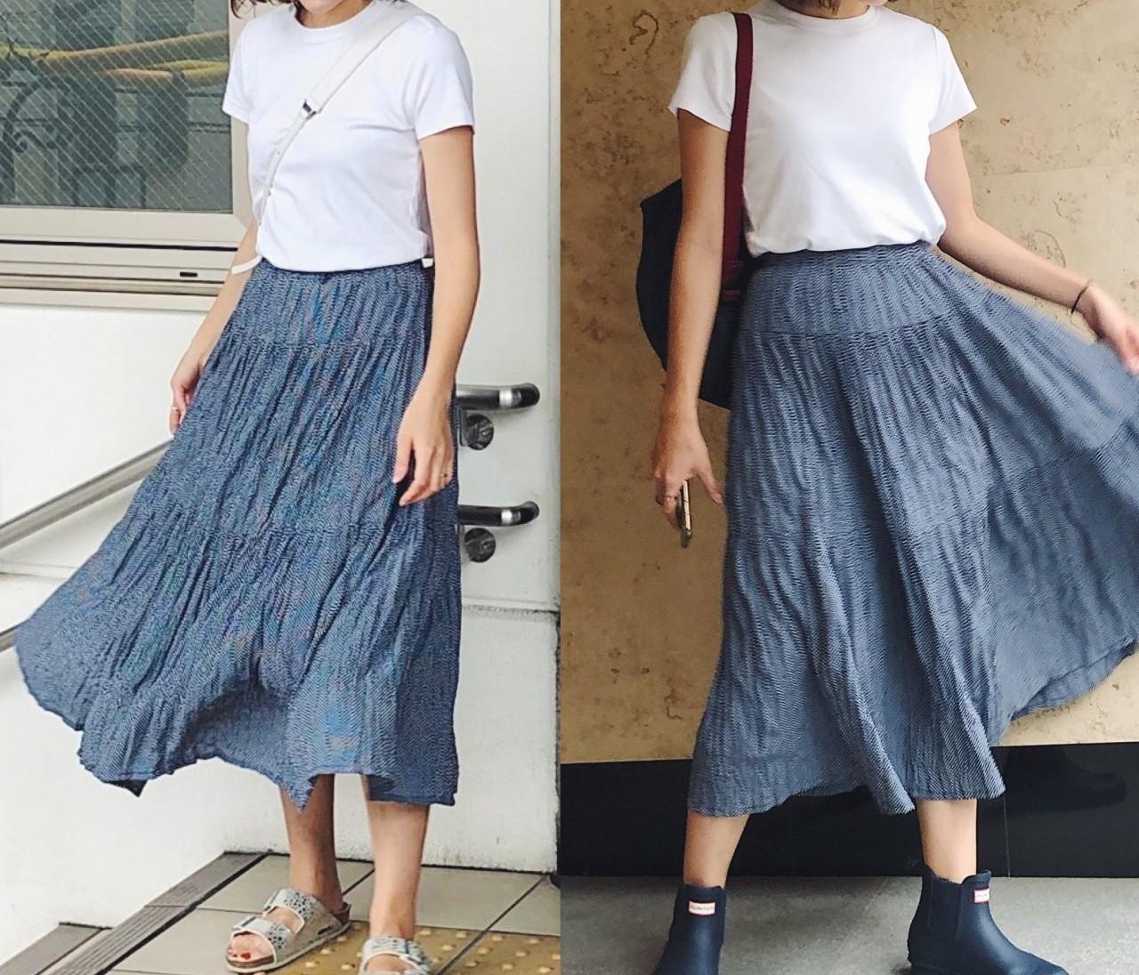 雨の日も晴れの日も涼しげ。《UNIQLO×INES プリーツスカート》が超優秀!