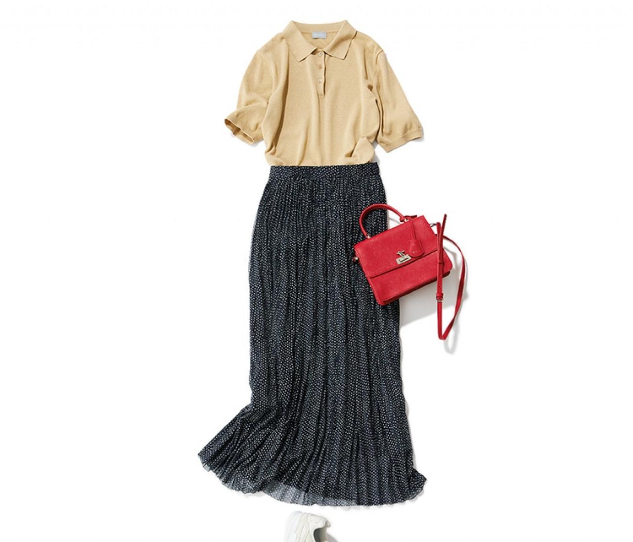 街バーベキューに行く休日は、揺れネイビースカートの愛されカジュアルスタイル【2019/7/14のコーデ】