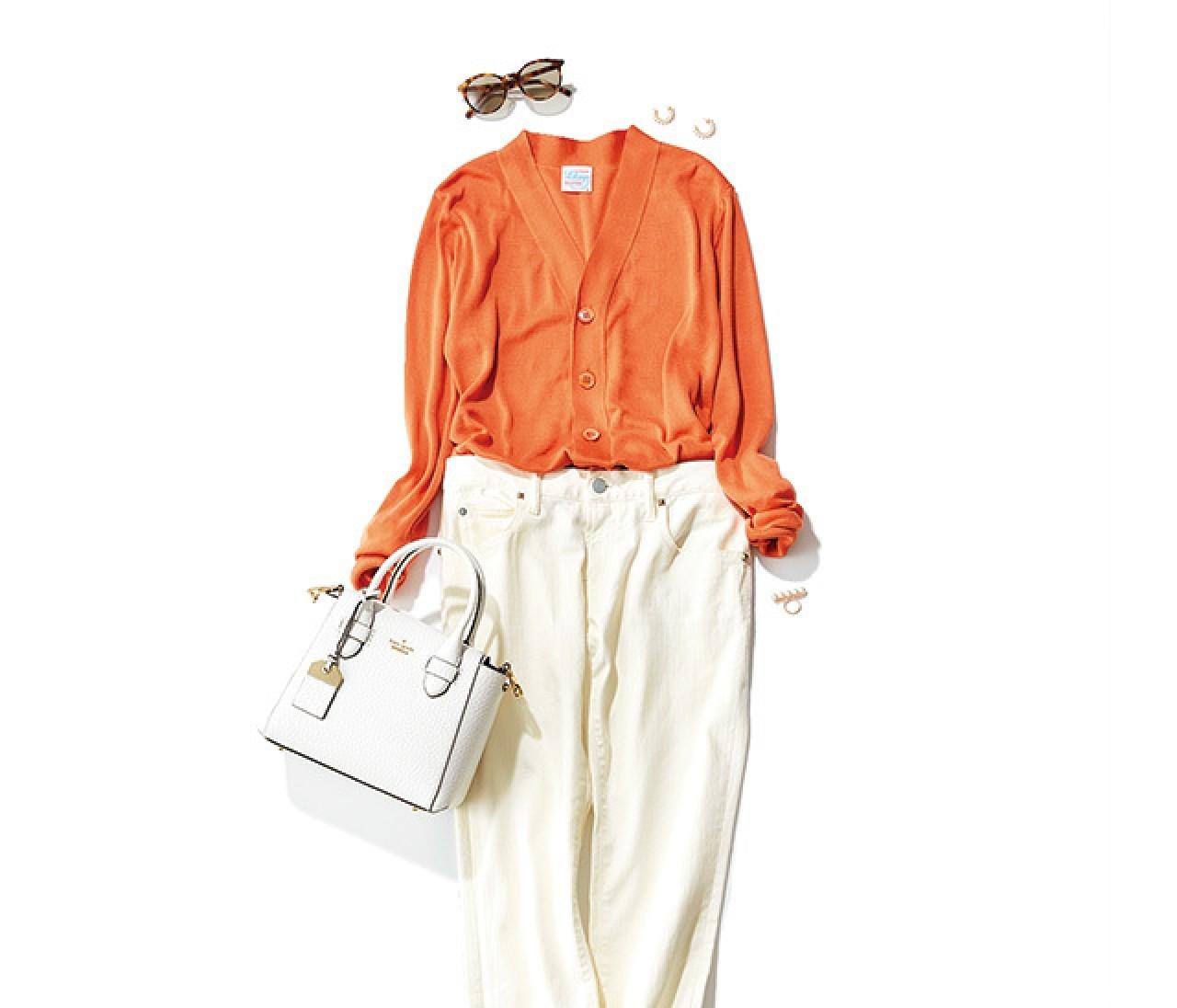 好感度もデキるっぽさも欲しい日は、オレンジ×白のパンツコーデで!【2018/6/8のコーデ】