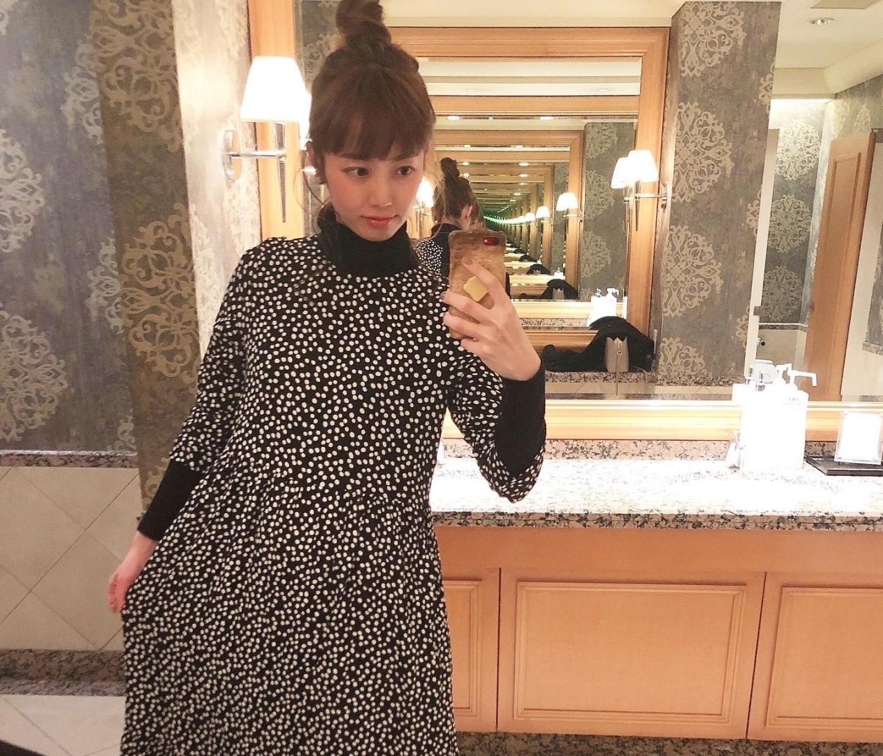 ドット柄がかわいい♡ZARAのワンピースでホテルランチ