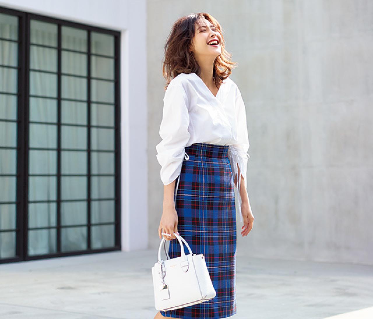 さわやかで女らしい♡ 初夏らしいブルー&ホワイトのスカートコーデ【2018/5/11のコーデ】