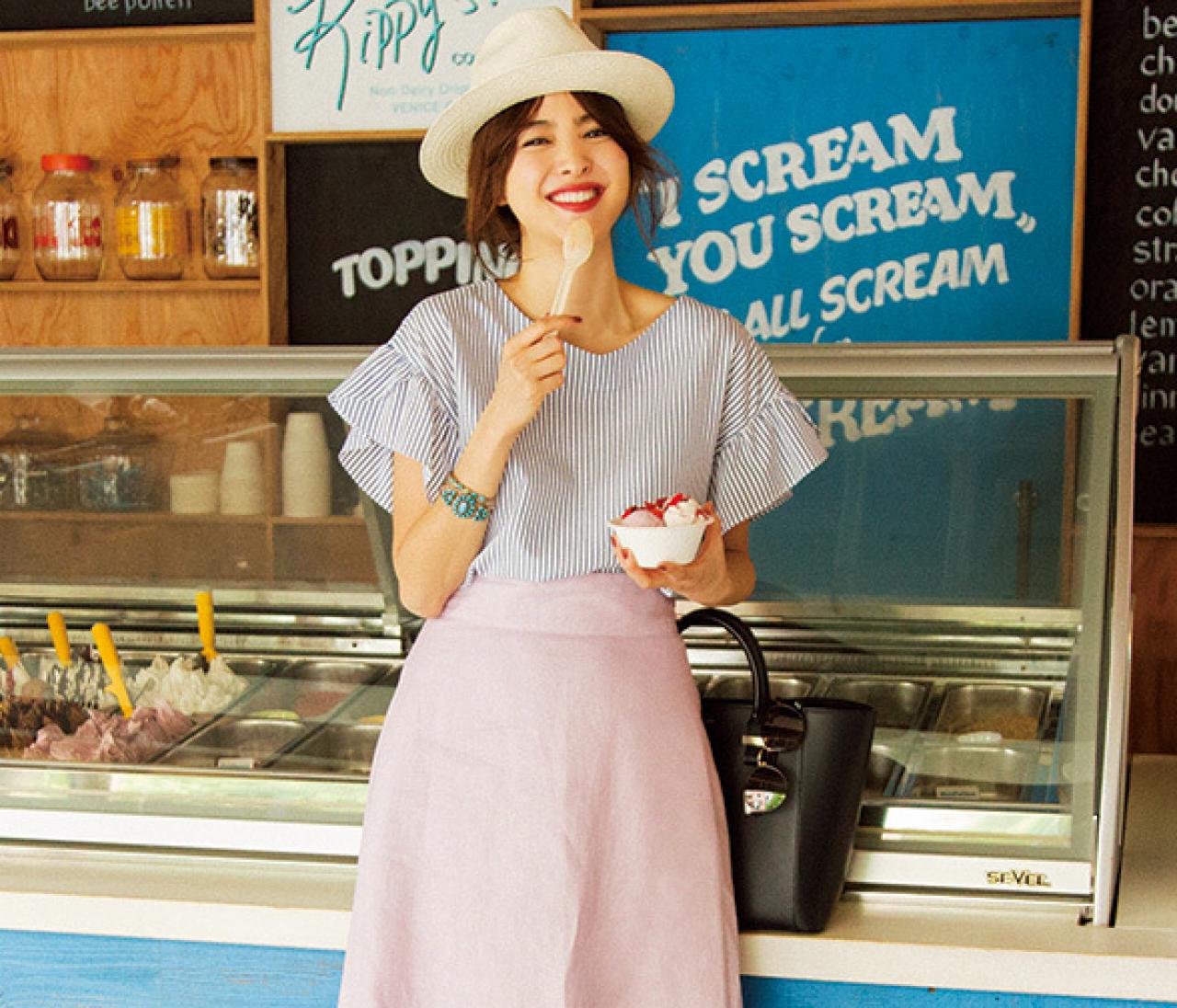 夏美女になりたいなら、ストライプ×ターコイズで涼しげブルーをリフレイン