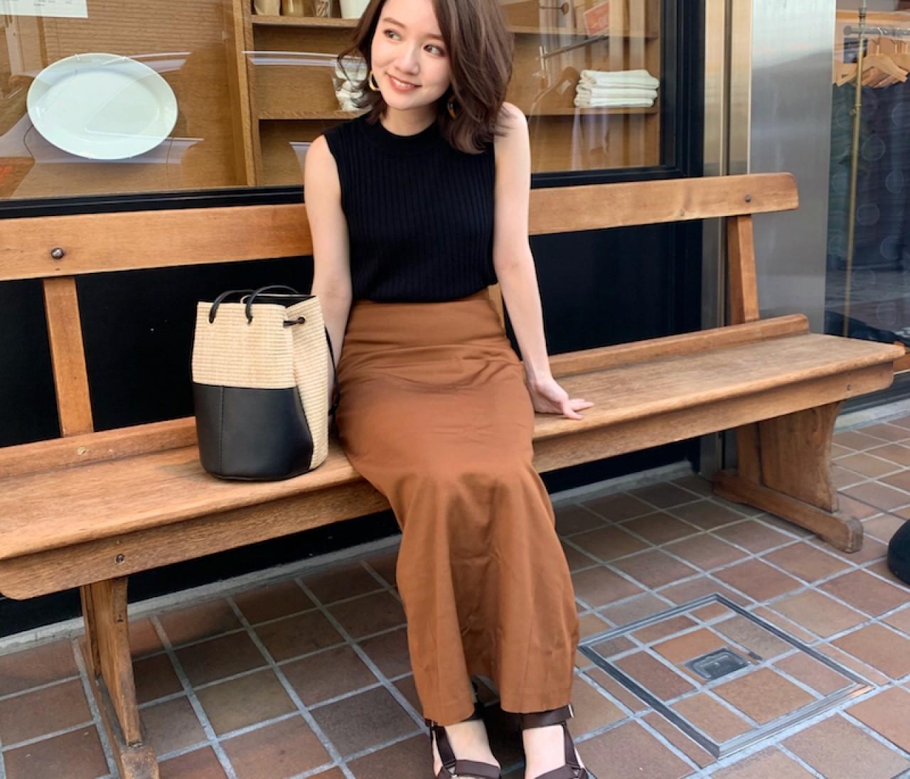 【150cmコーデ】夏から秋にかけて大活躍!秋めきカラーのスカート