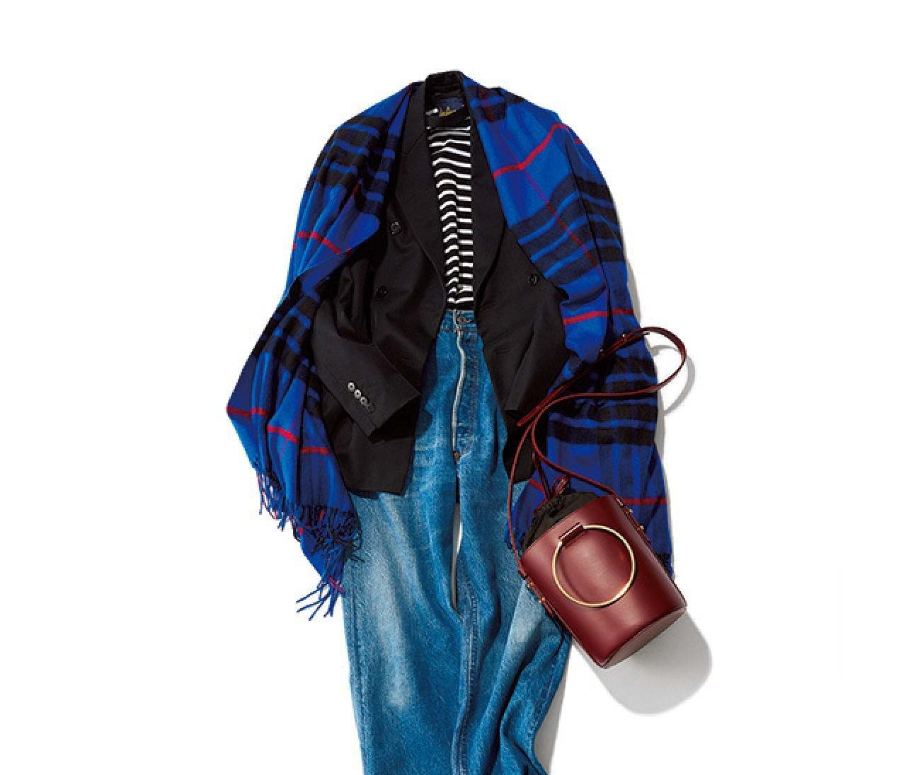 冬デニムは、柄ミックス&ジャケットで大人なこなれスタイルに♡