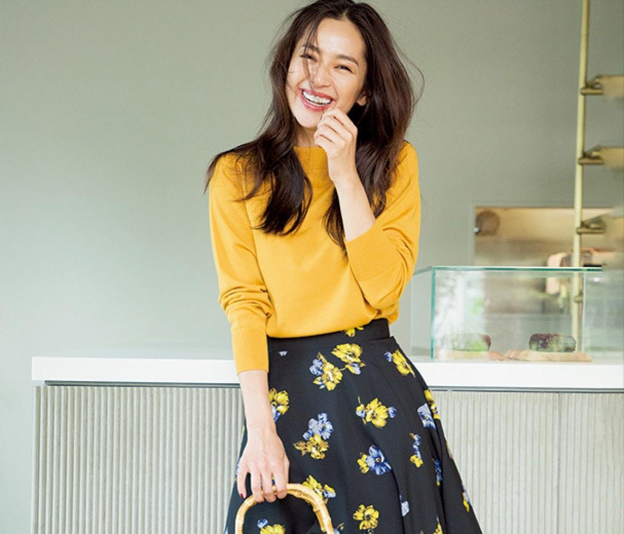 中村アンに学ぶ【ニット×スカート】ほそ華Aラインコーデの法則7