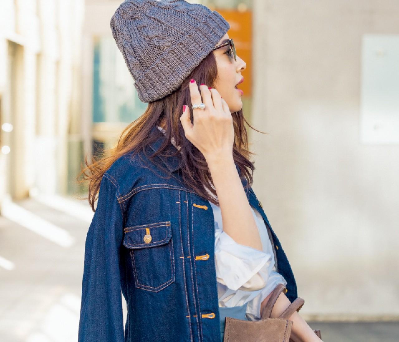 ニット帽が春のこなれスタイルに効く件♥︎