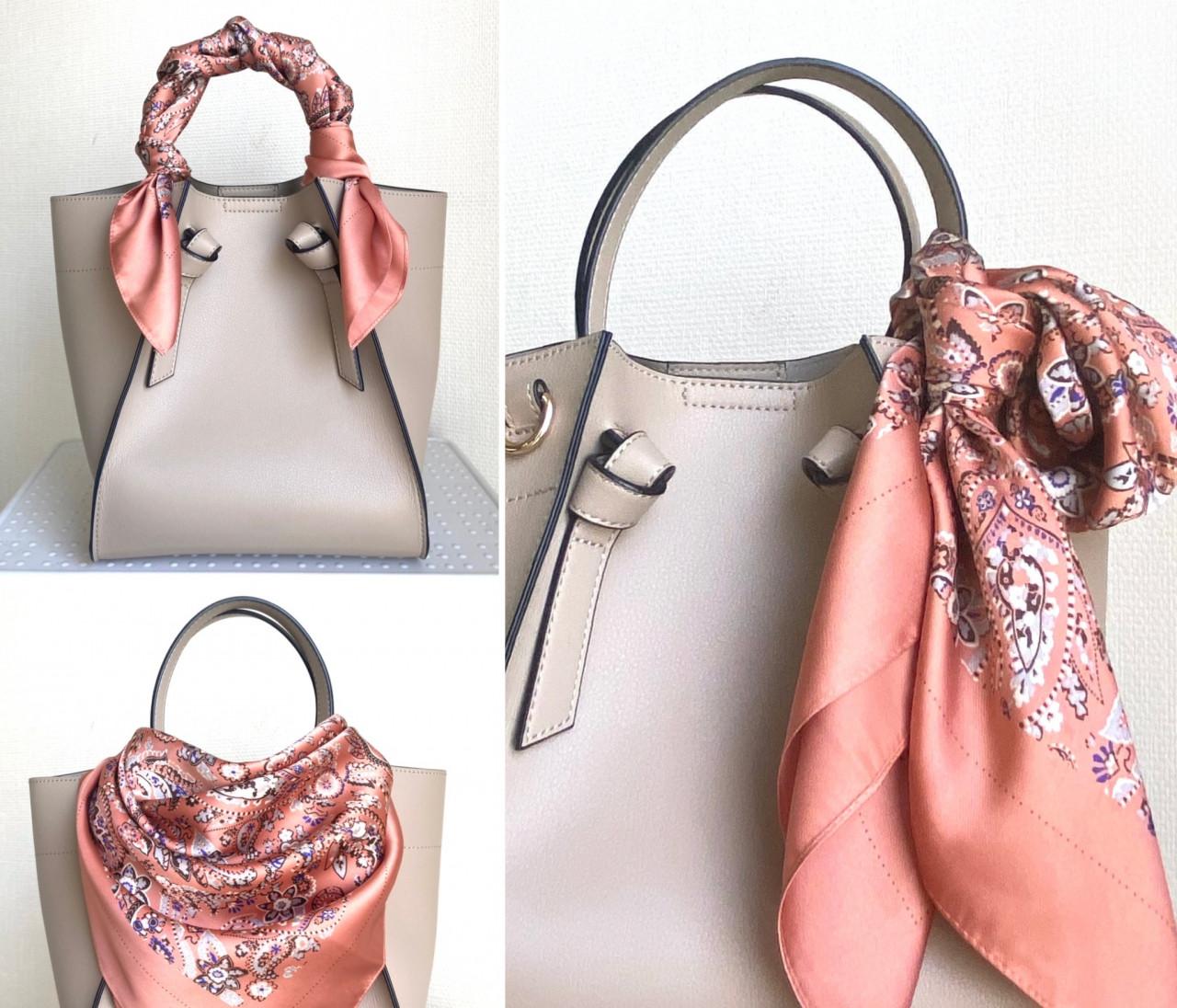 【ユニクロ小物アレンジ】スカーフをバッグに結ぶ方法3選