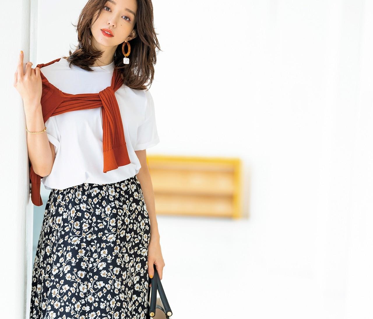 【スタメン派手服】<柄スカート>でつくる女っぽカジュアル5コーデ