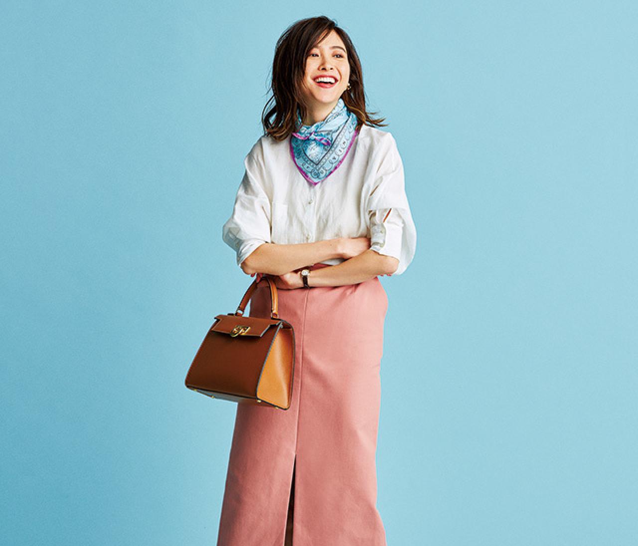いつものシャツ×スカートコーデも、春色を使って鮮度アップ♡