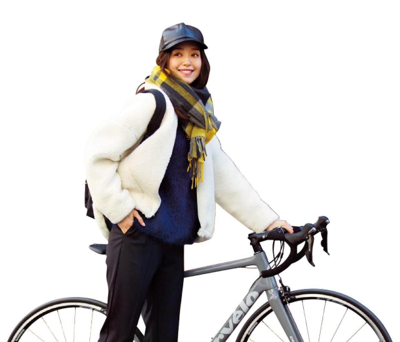 サイクリングの日は、暖かくも今っぽいボアアウターコーデ【2019/1/27のコーデ】