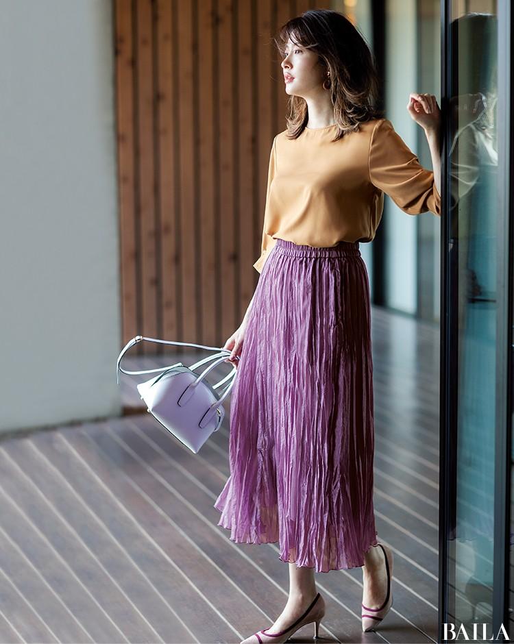 朝イチ会議の日は、即きれい見えする旬色ブラウス×プリーツスカートスタイルで!【2019/9/12のコーデ】_1