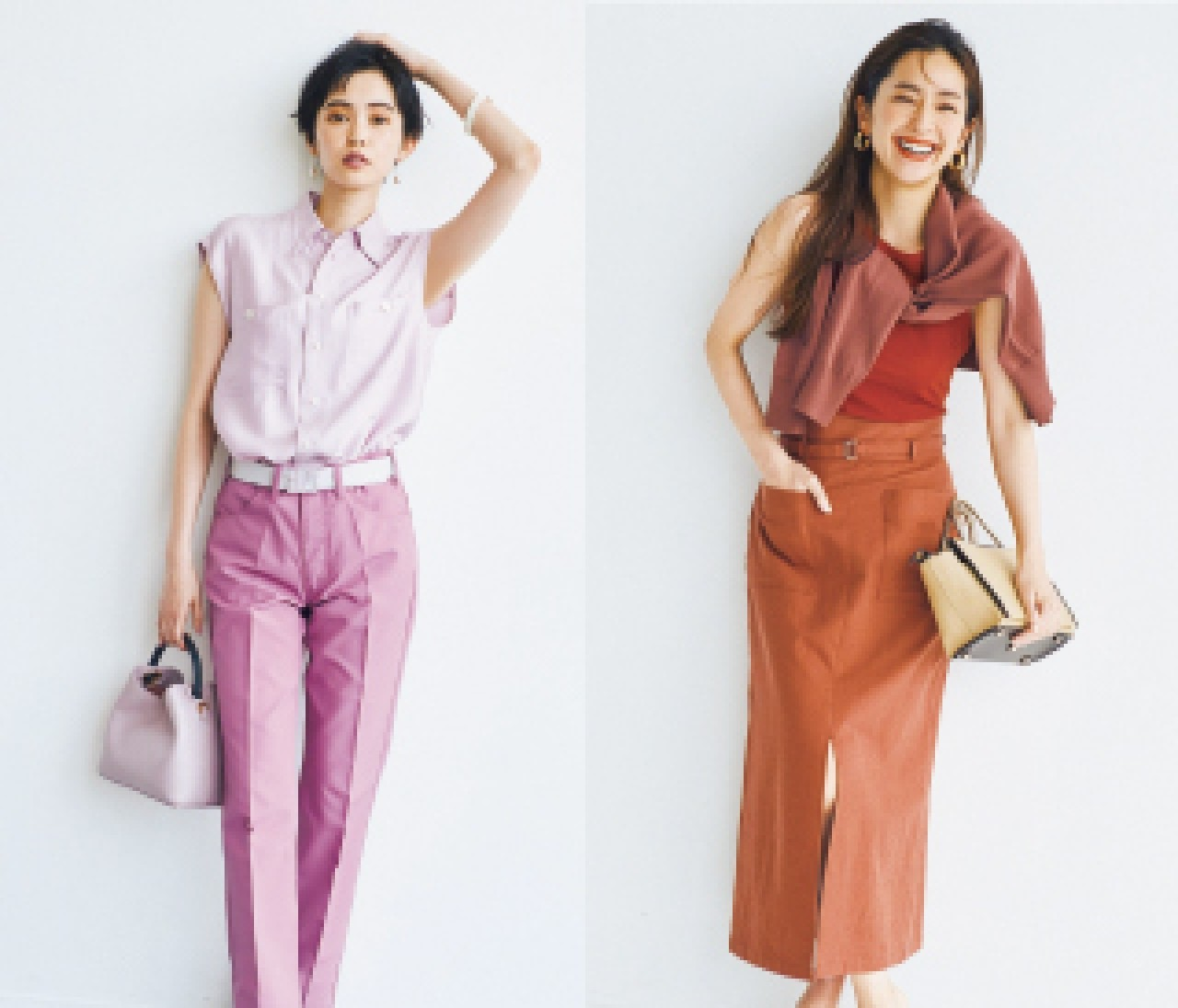 夏のワントーンは「きれい色」と「サファリカラー」で女らしさも品のよさも手に入れて!
