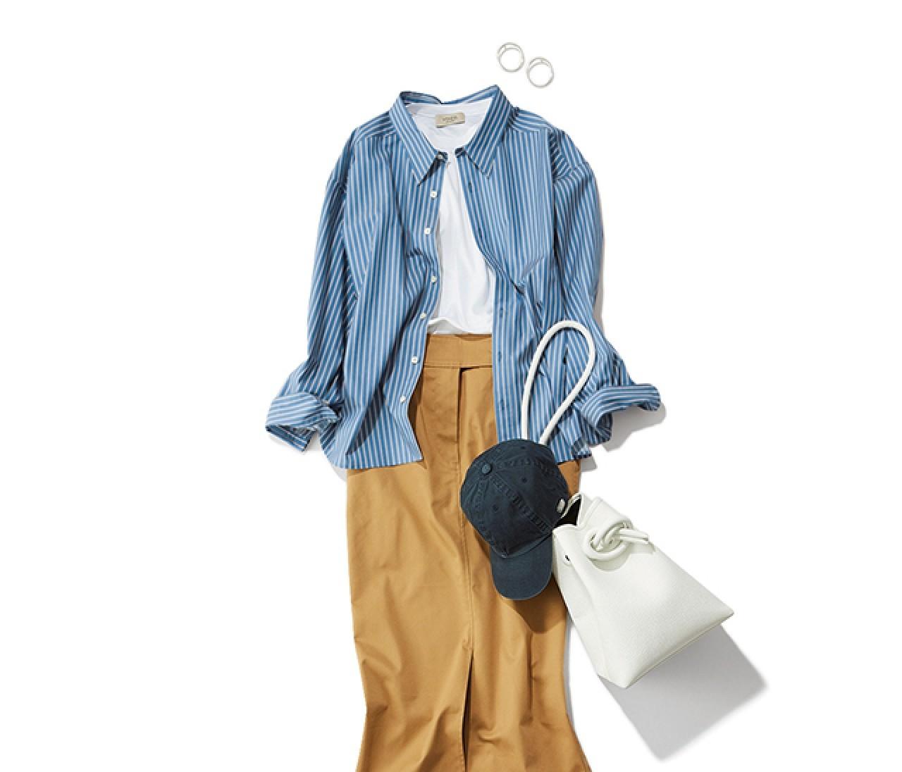 ランチバーベキューの日は、さわやかなストライプシャツのボーイッシュスタイル【2019/3/23のコーデ】
