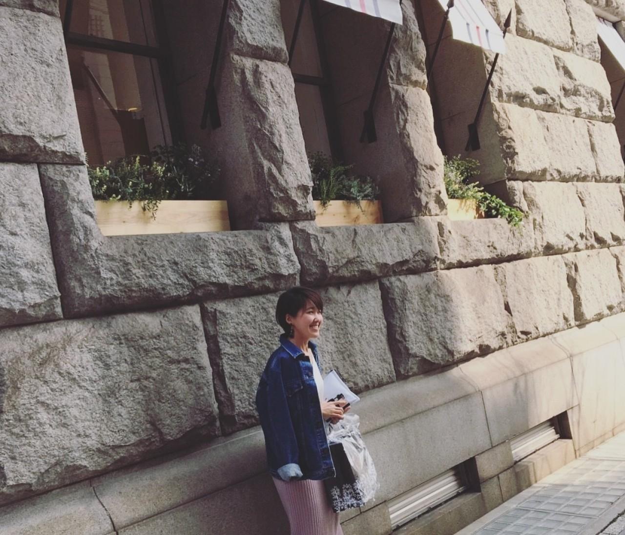OOTD★ヴィンテージGジャンとさくら色のタイトスカートでお散歩コーデ