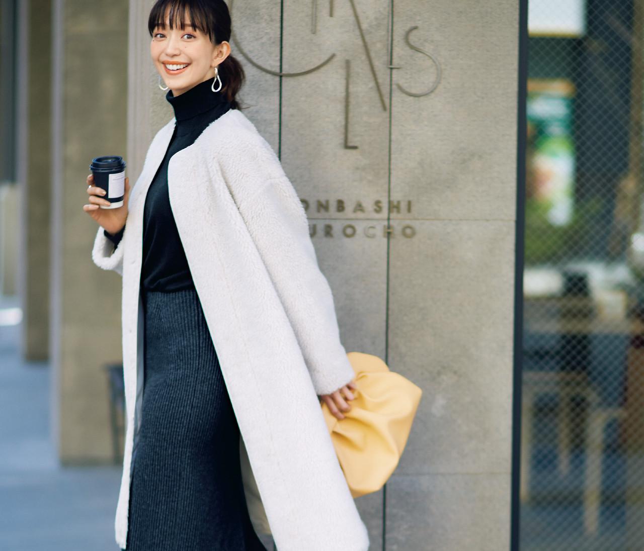 【30代冬の着やせルール10】「白ボアコート」を着るときは、濃色をインにするのが鉄則!