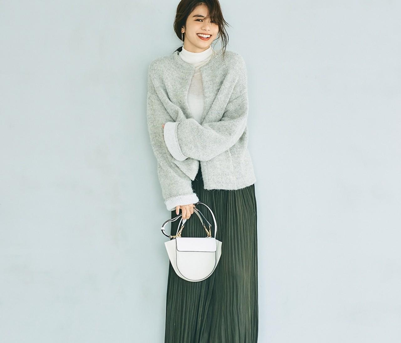 土曜日は、ノーカラーニットコートの女っぽスタイルで【30代今日のコーデ】